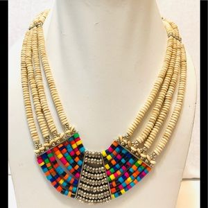 Tribal African bone beaded necklace